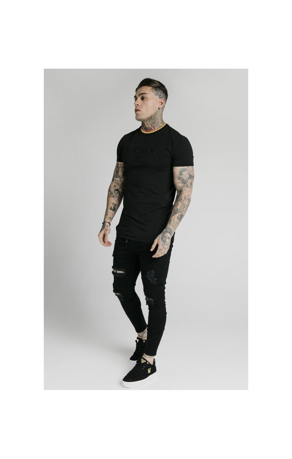 Load image into Gallery viewer, SikSilk Straight Hem Gym Tee – Black & Gold (4)