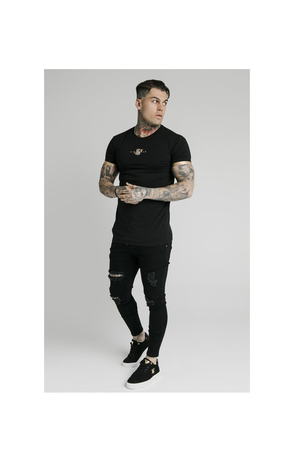 SikSilk S/S Inset Cuff Gym Tee – Black & Gold (3)