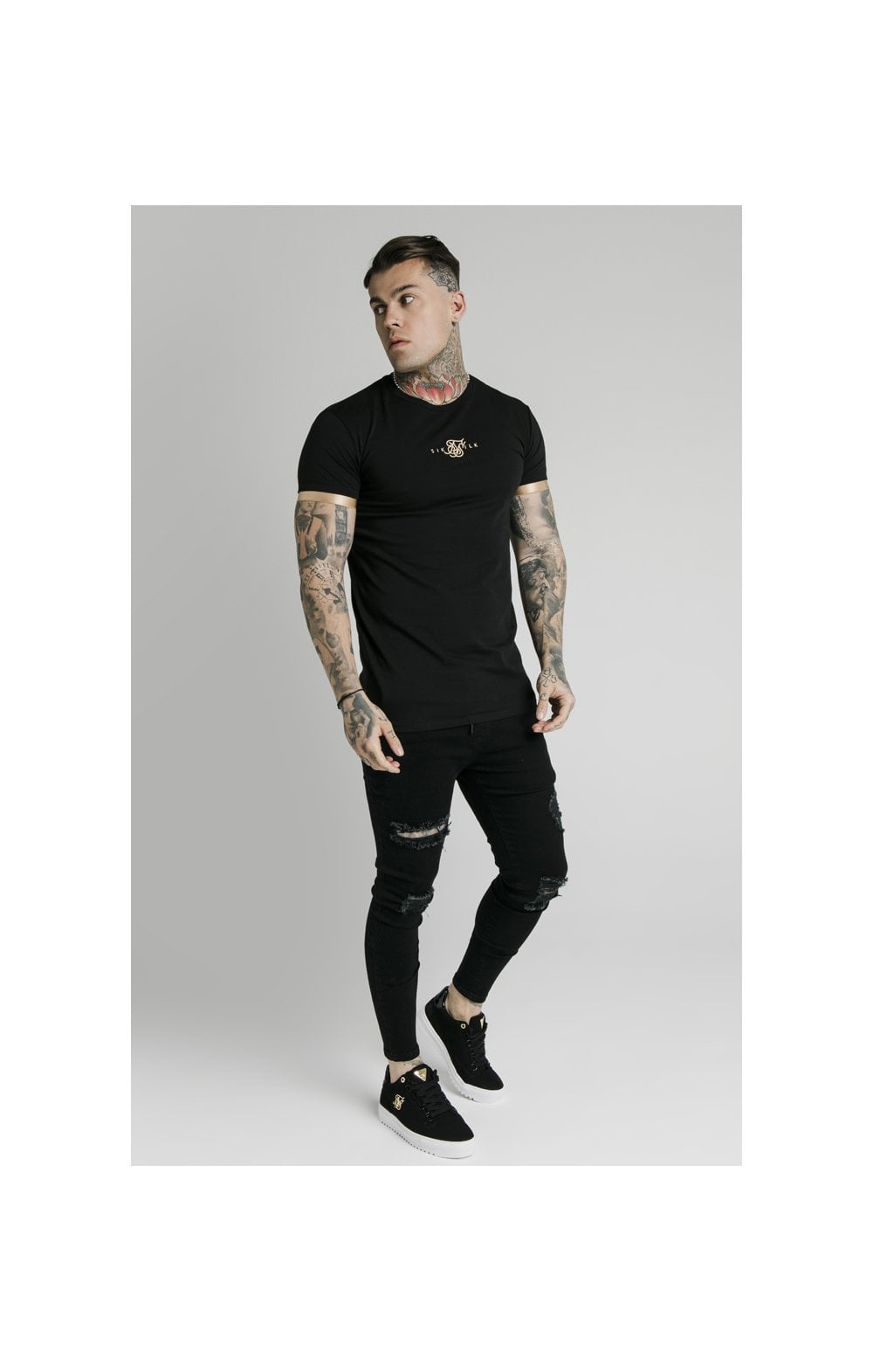 SikSilk S/S Inset Cuff Gym Tee – Black & Gold (4)