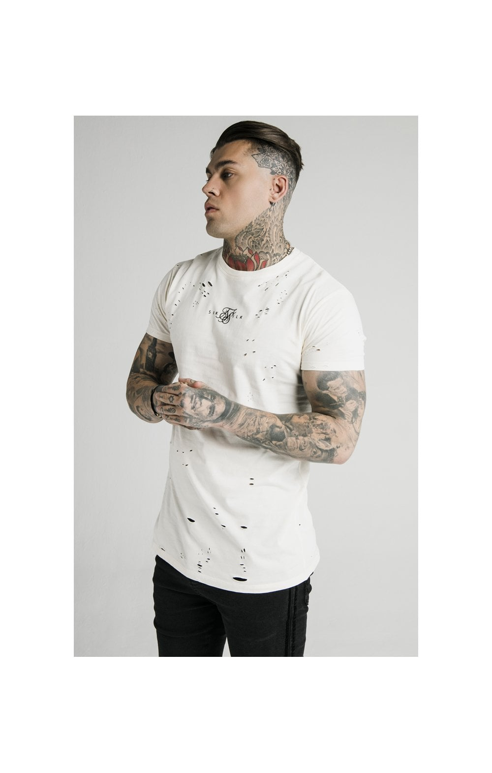 SikSilk S/S Distressed Box Tee - Off White