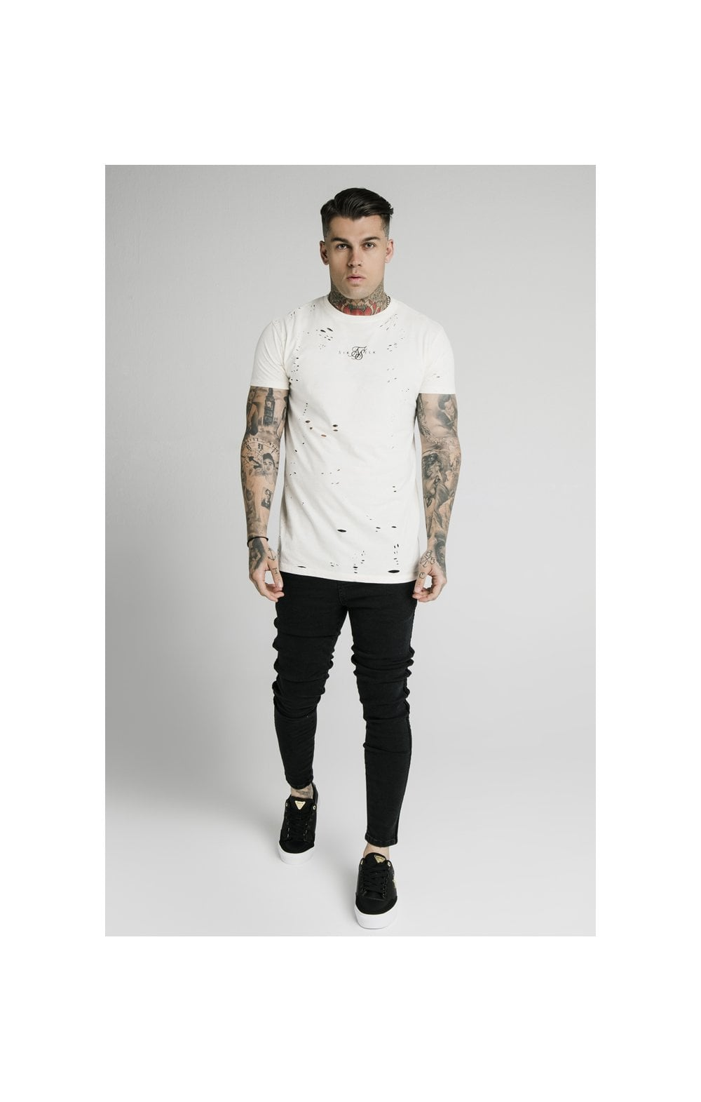 SikSilk S/S Distressed Box Tee - Off White (2)