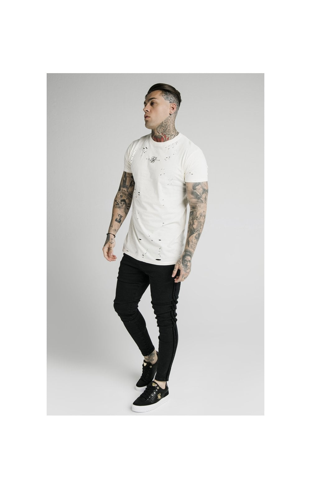 SikSilk S/S Distressed Box Tee - Off White (3)