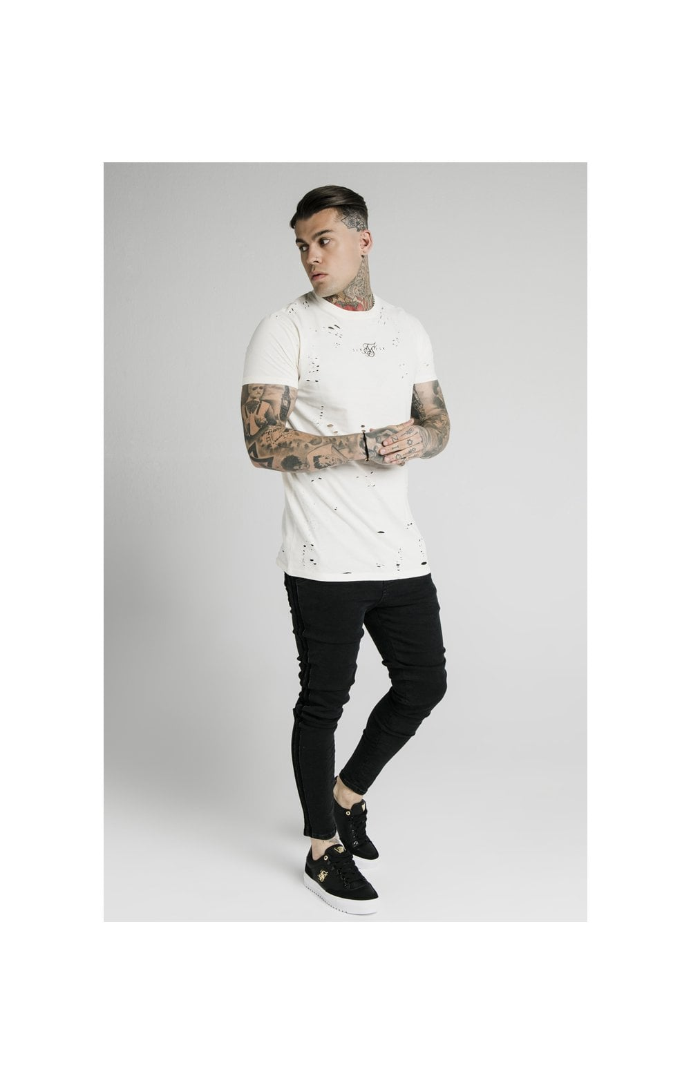 SikSilk S/S Distressed Box Tee - Off White (4)