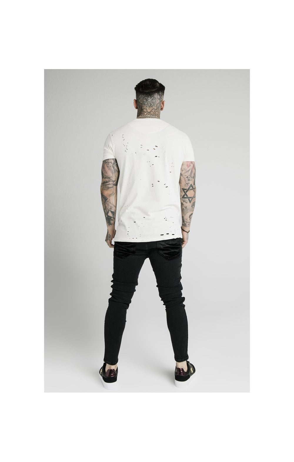 SikSilk S/S Distressed Box Tee - Off White (5)