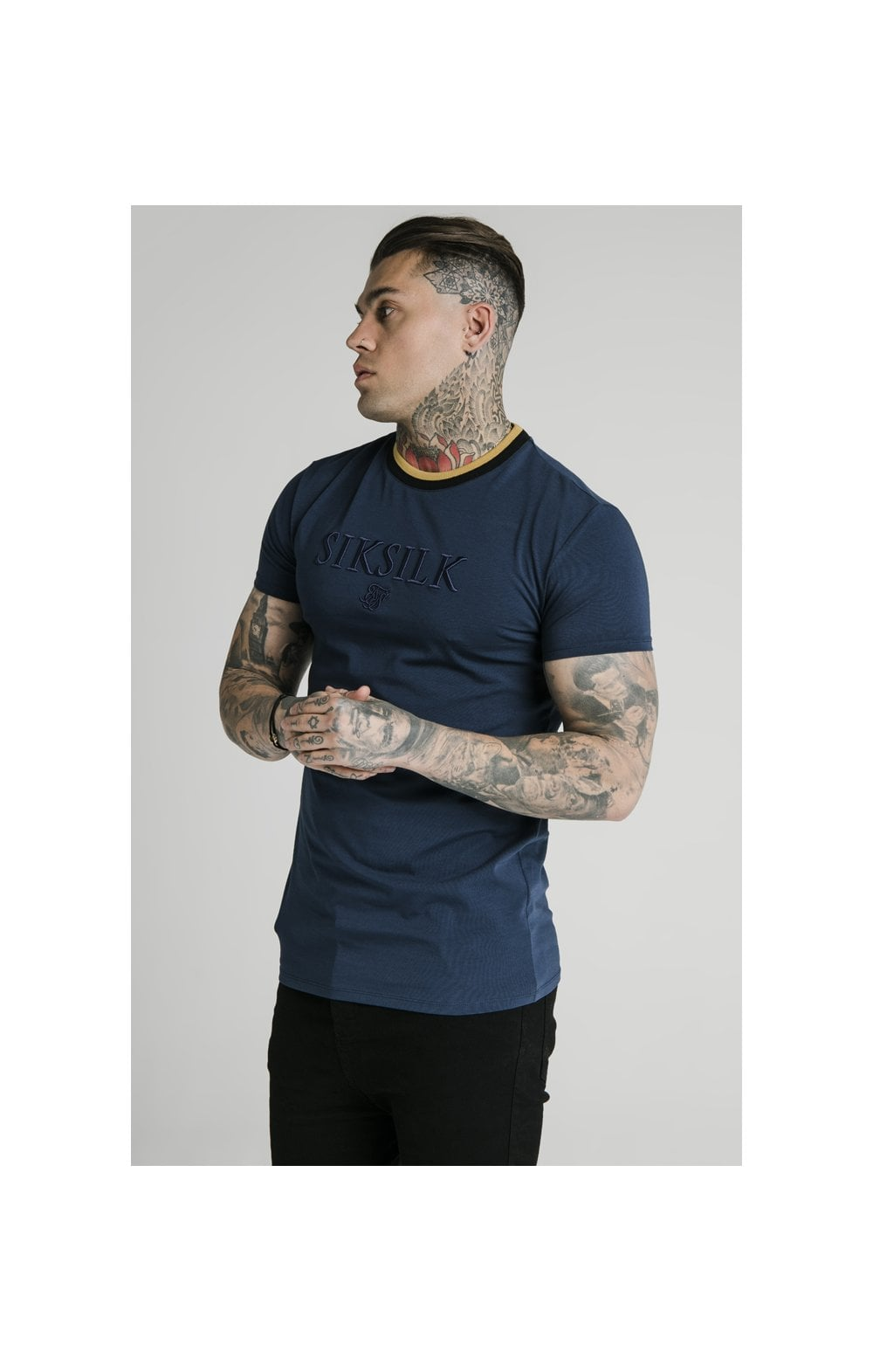 SikSilk Straight Hem Gym Tee – Navy, Gold & Black