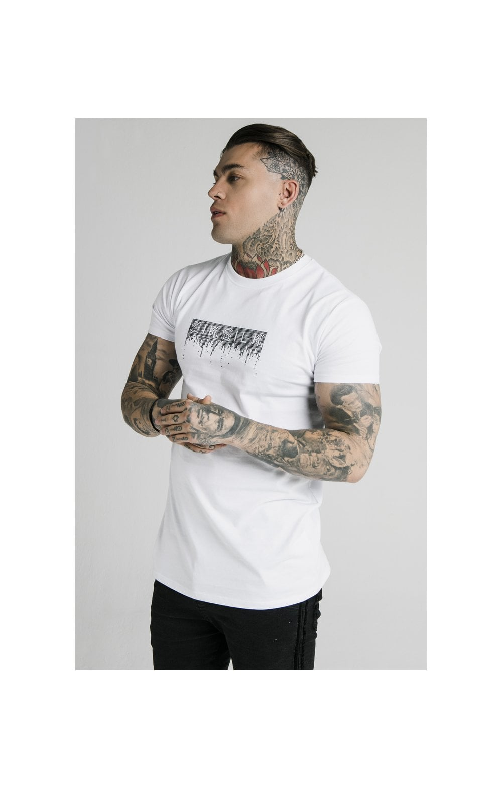SikSilk Rhinestone Creep Tee – White