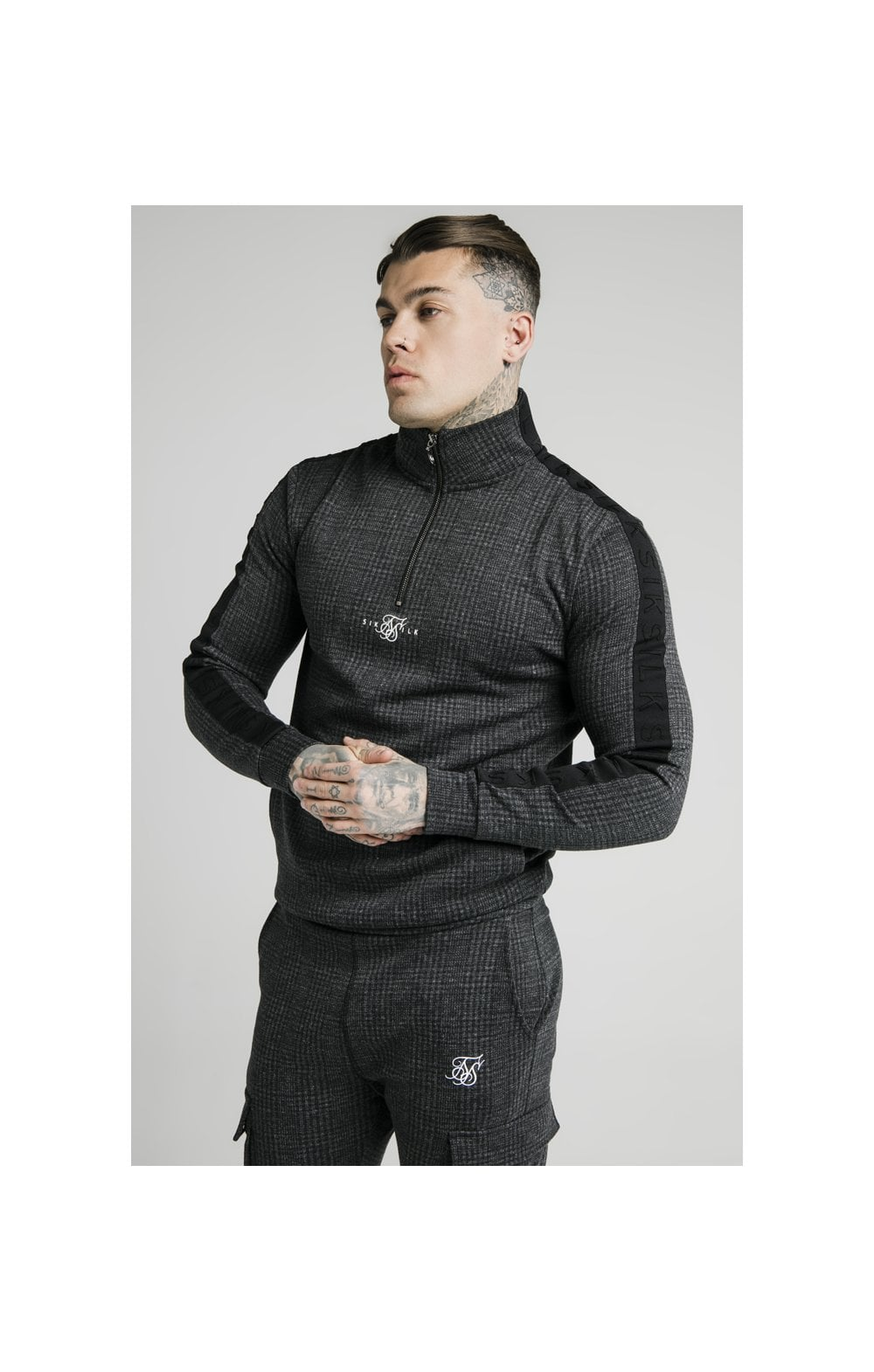 SikSilk Tonal Check Quarter Zip Hoodie - Grey