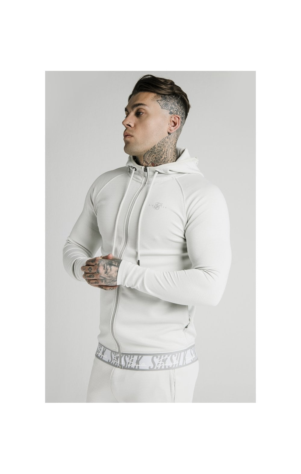 SikSilk Scope Tape Zip Through Hoodie – Ice Grey