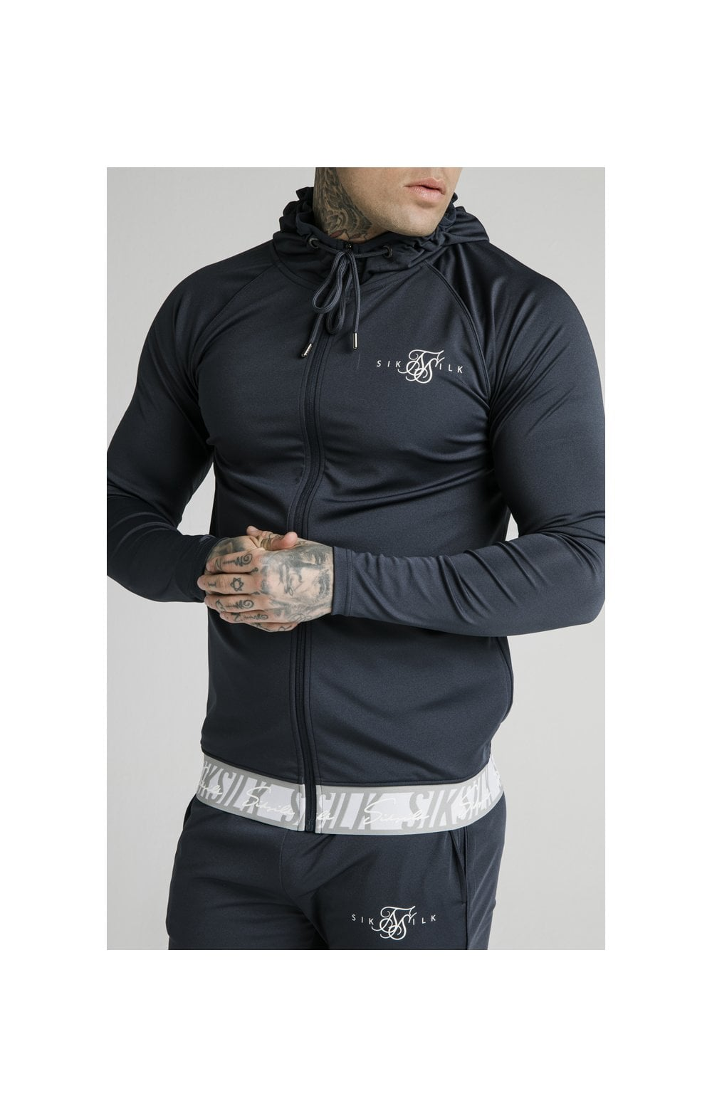SikSilk Scope Tape Zip Through Hoodie – Navy (1)