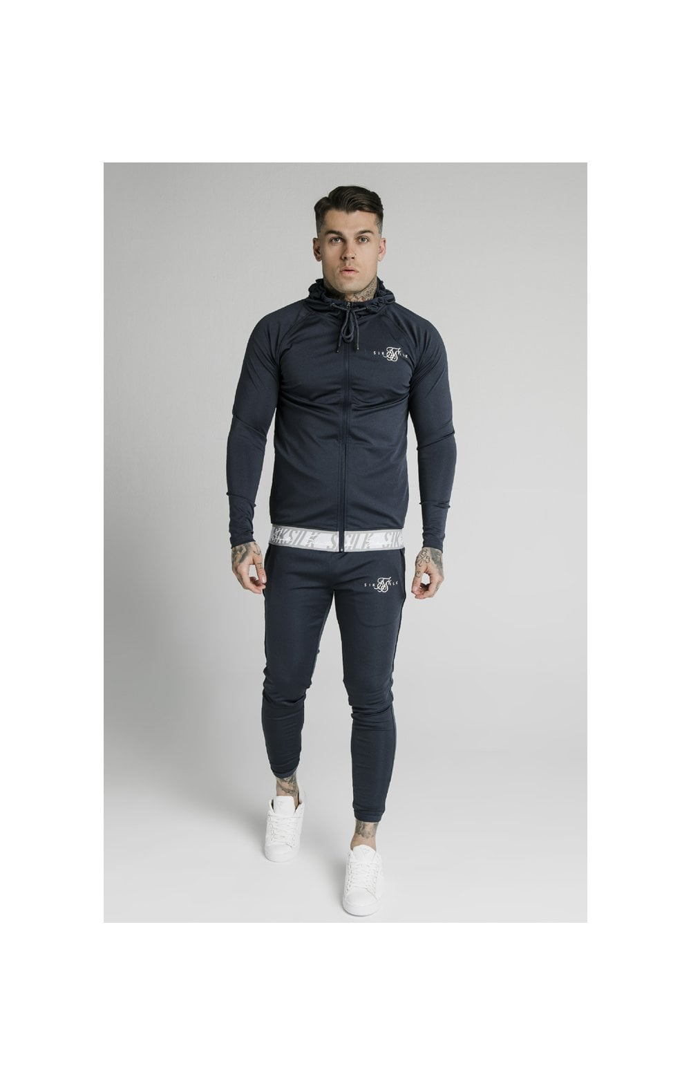 SikSilk Scope Tape Zip Through Hoodie – Navy (2)