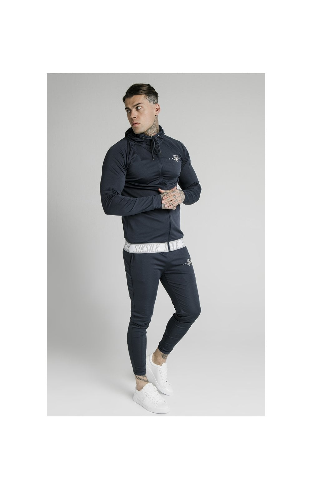 SikSilk Scope Tape Zip Through Hoodie – Navy (3)