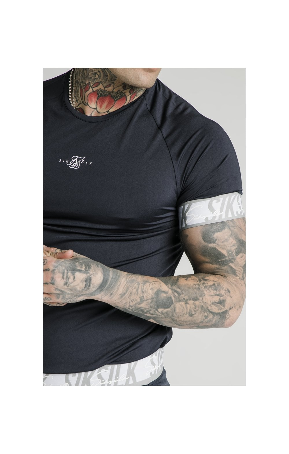 Load image into Gallery viewer, SikSilk S/S Scope Tape Tech Tee – Navy (1)