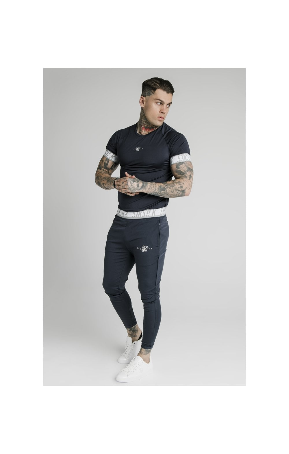 SikSilk S/S Scope Tape Tech Tee – Navy (4)