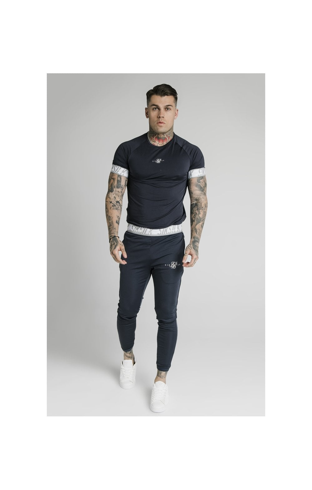 Load image into Gallery viewer, SikSilk S/S Scope Tape Tech Tee – Navy (5)