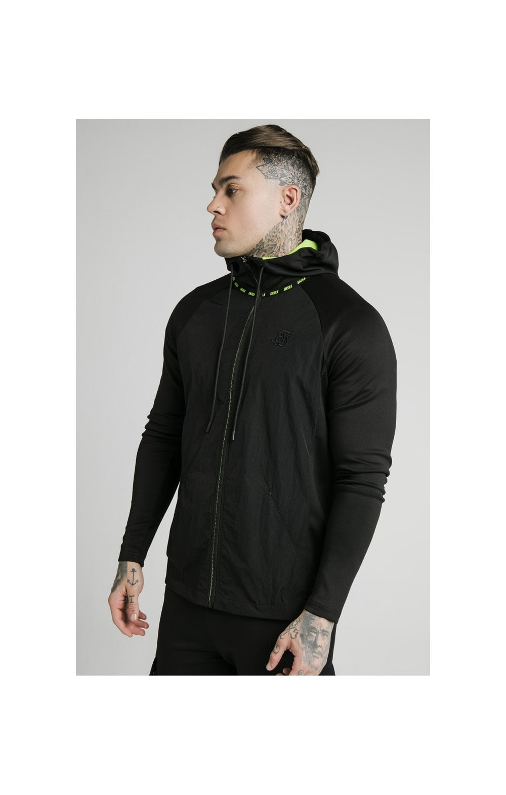 SikSilk Adapt Crushed Nylon Zip Through – Black