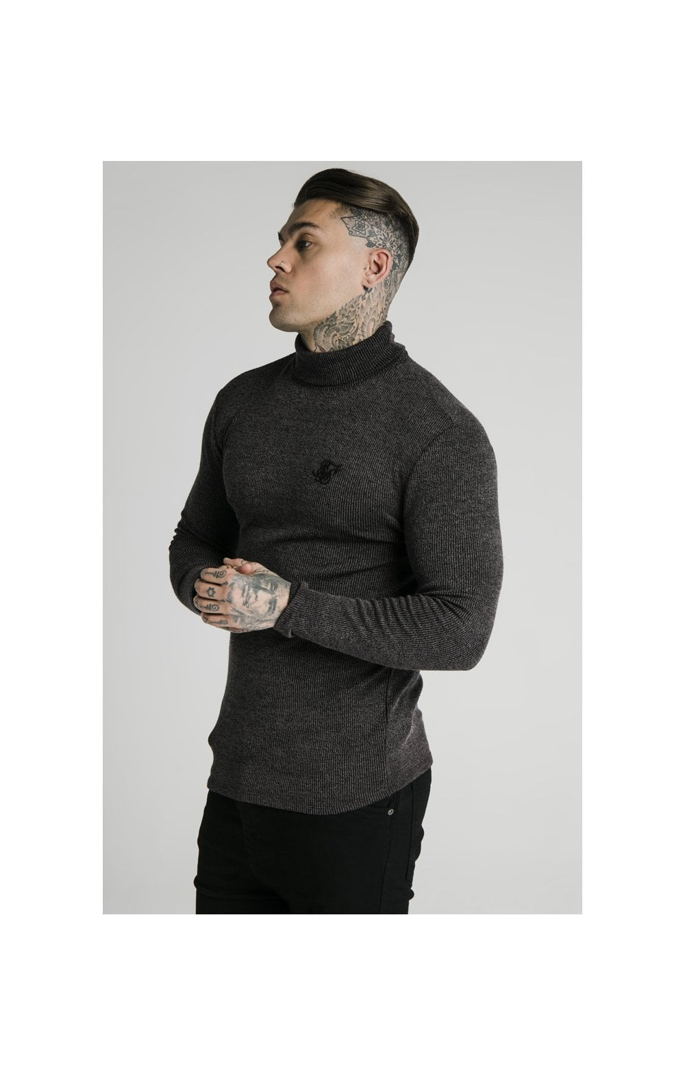 Load image into Gallery viewer, SikSilk Rib Turtle Neck - Jet Black