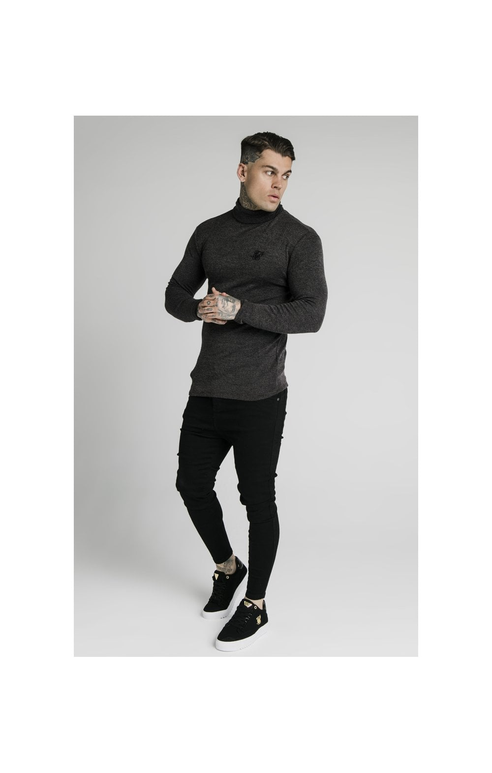 Load image into Gallery viewer, SikSilk Rib Turtle Neck - Jet Black (2)