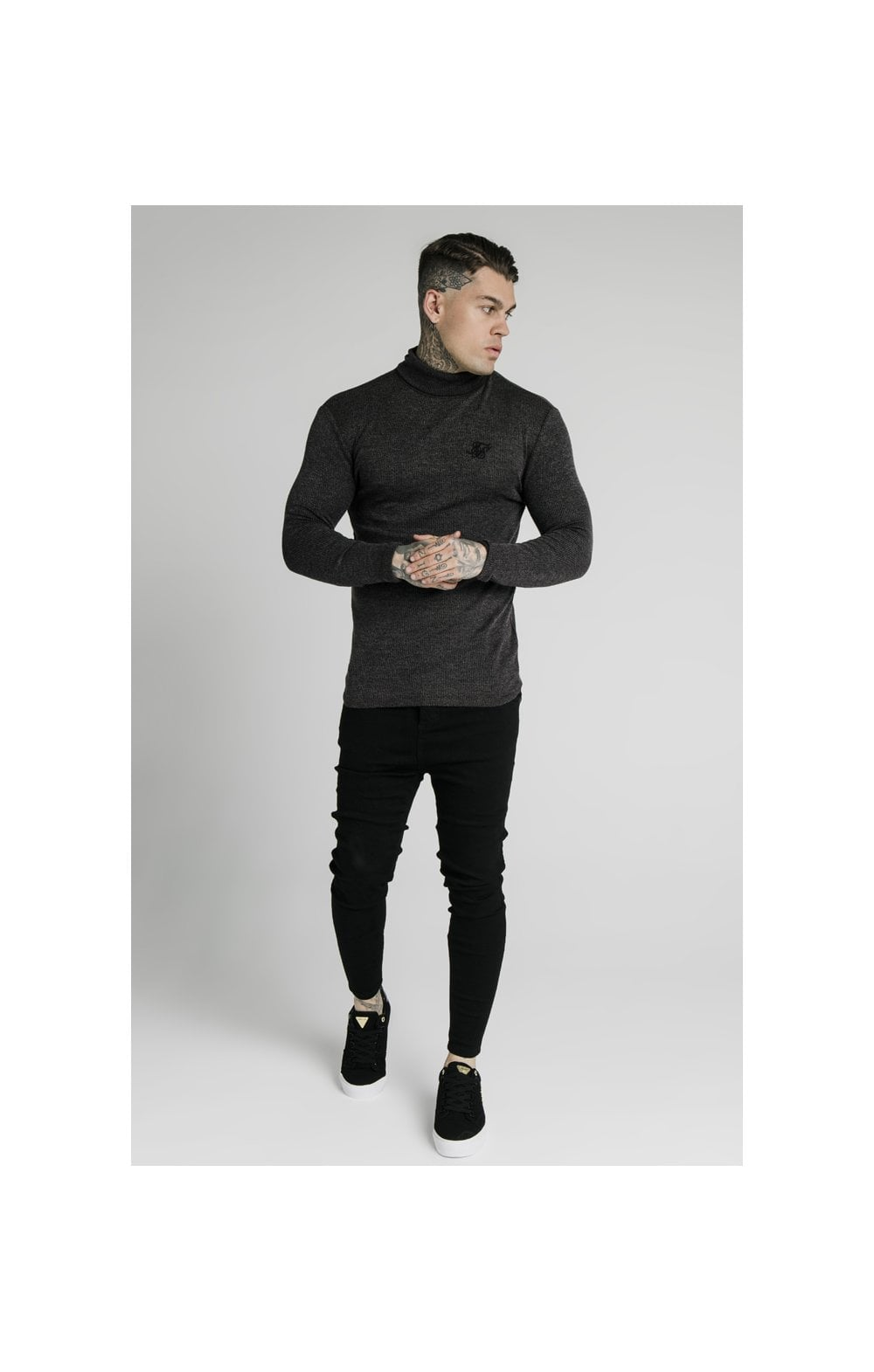 Load image into Gallery viewer, SikSilk Rib Turtle Neck - Jet Black (3)