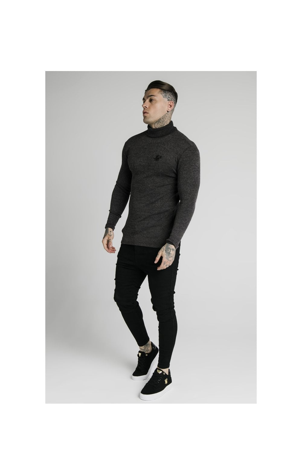 Load image into Gallery viewer, SikSilk Rib Turtle Neck - Jet Black (4)