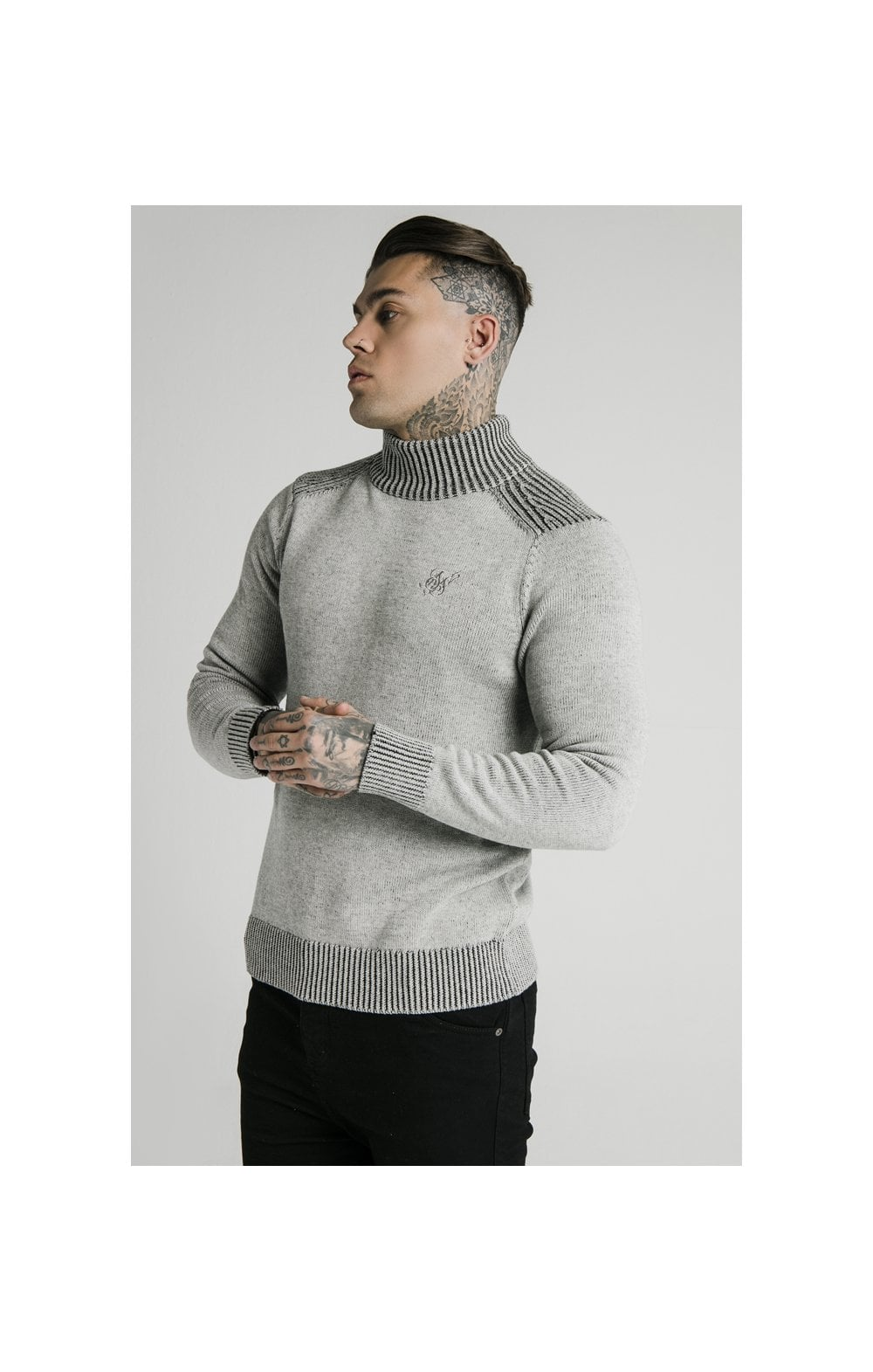 SikSilk Rib Turtle Neck - Light Grey