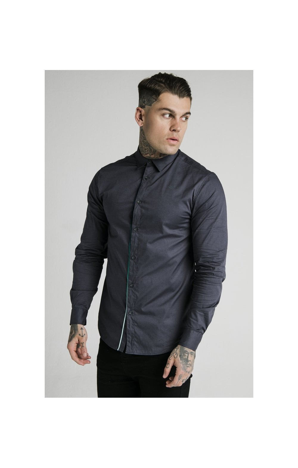 SikSilk L/S Fade Piping Shirt - Navy