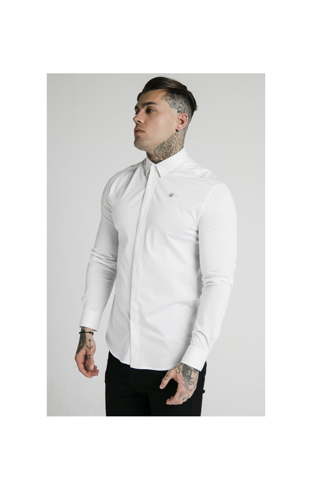 Load image into Gallery viewer, SikSilk L/S Cotton Shirt - White