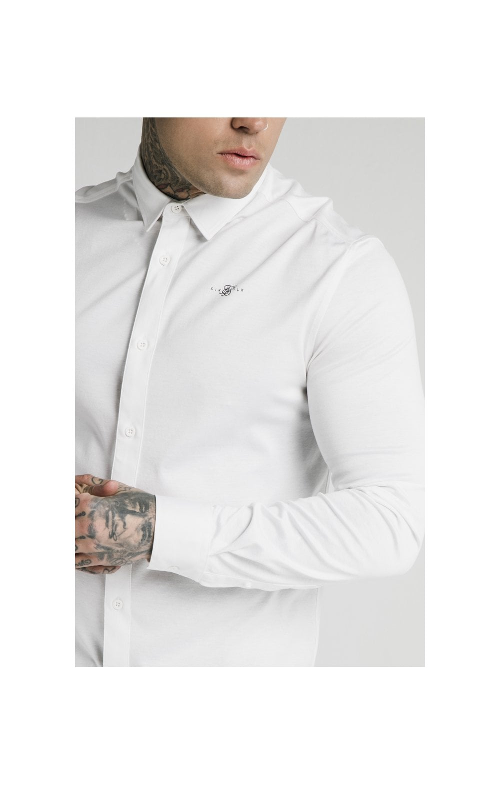 Load image into Gallery viewer, SikSilk L/S Cotton Shirt - White (1)