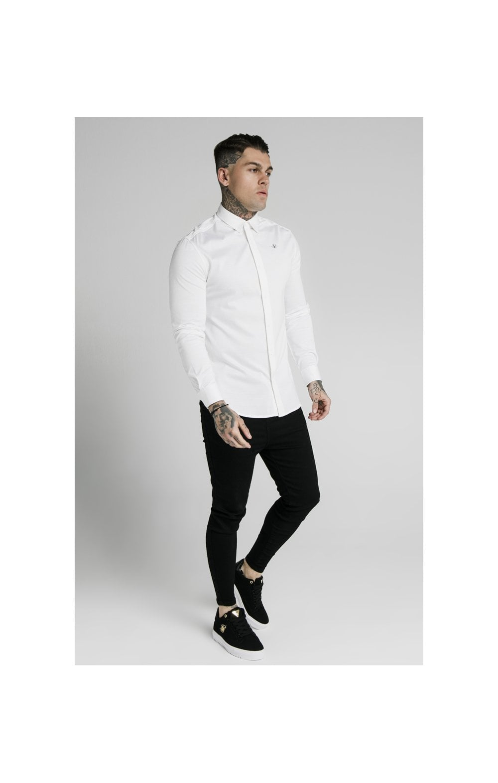 Load image into Gallery viewer, SikSilk L/S Cotton Shirt - White (2)