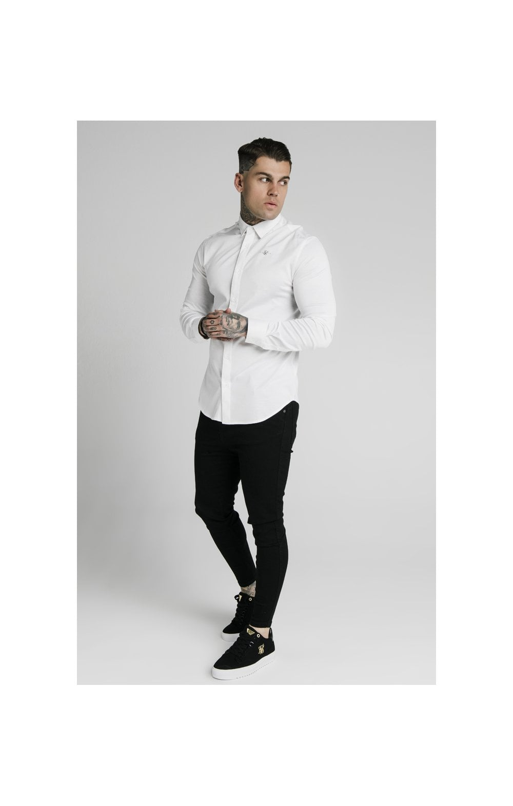 Load image into Gallery viewer, SikSilk L/S Cotton Shirt - White (3)