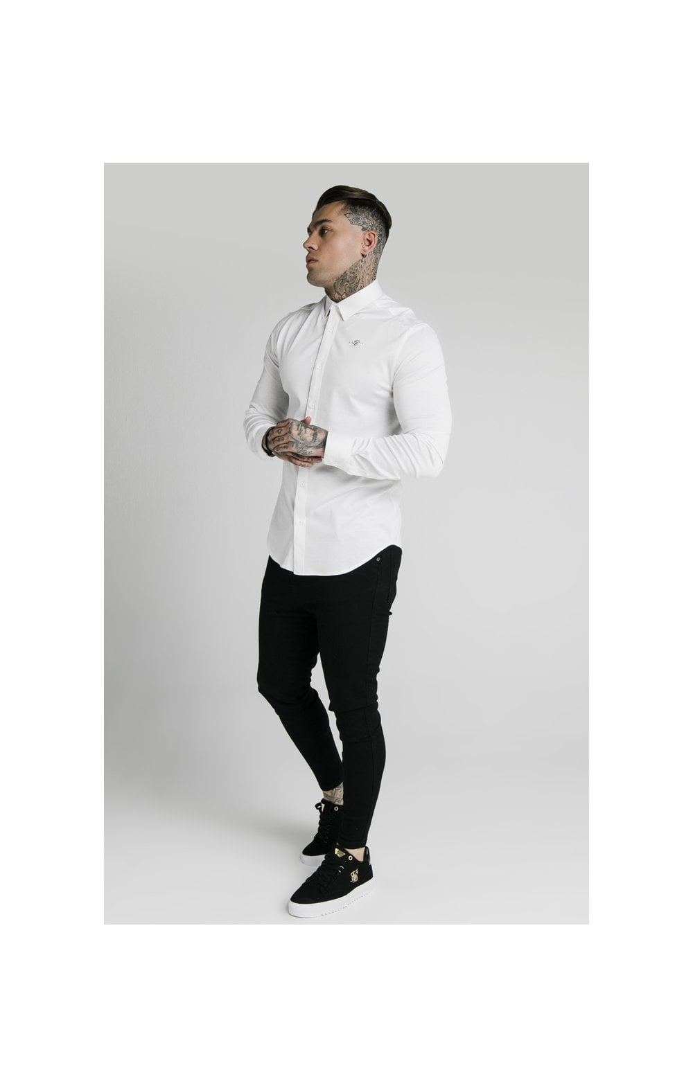 Load image into Gallery viewer, SikSilk L/S Cotton Shirt - White (4)