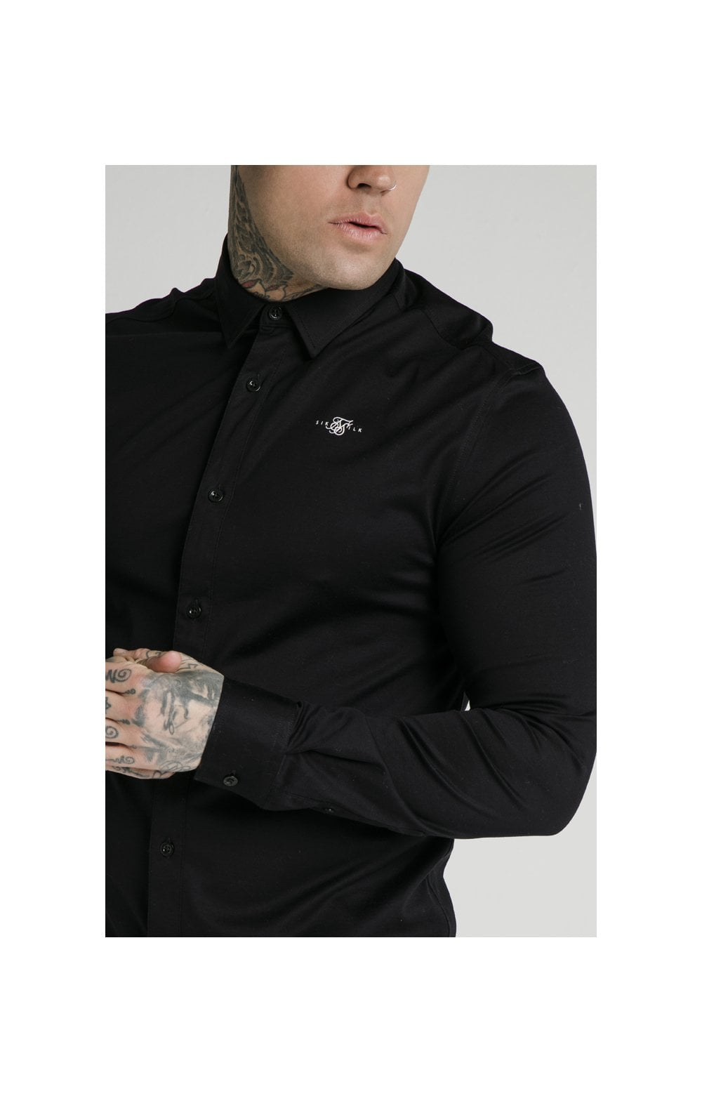 Load image into Gallery viewer, SikSilk L/S Cotton Shirt - Black (1)