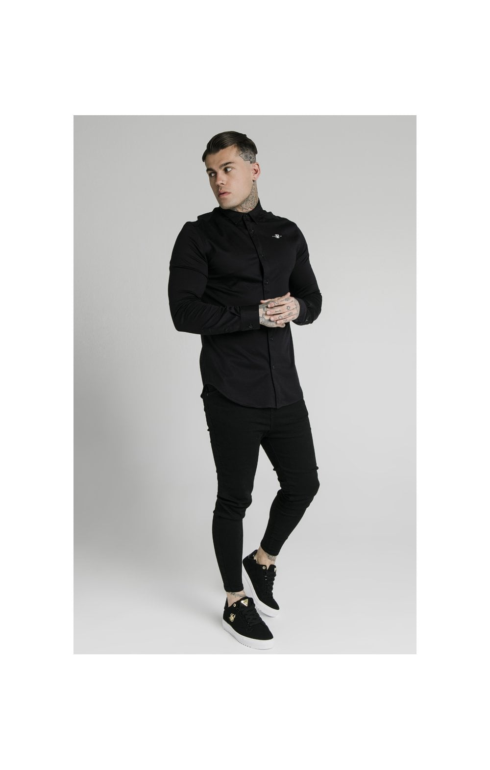Load image into Gallery viewer, SikSilk L/S Cotton Shirt - Black (2)