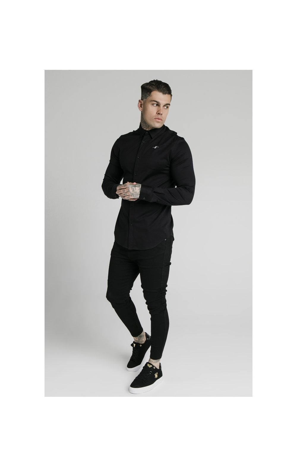 Load image into Gallery viewer, SikSilk L/S Cotton Shirt - Black (3)