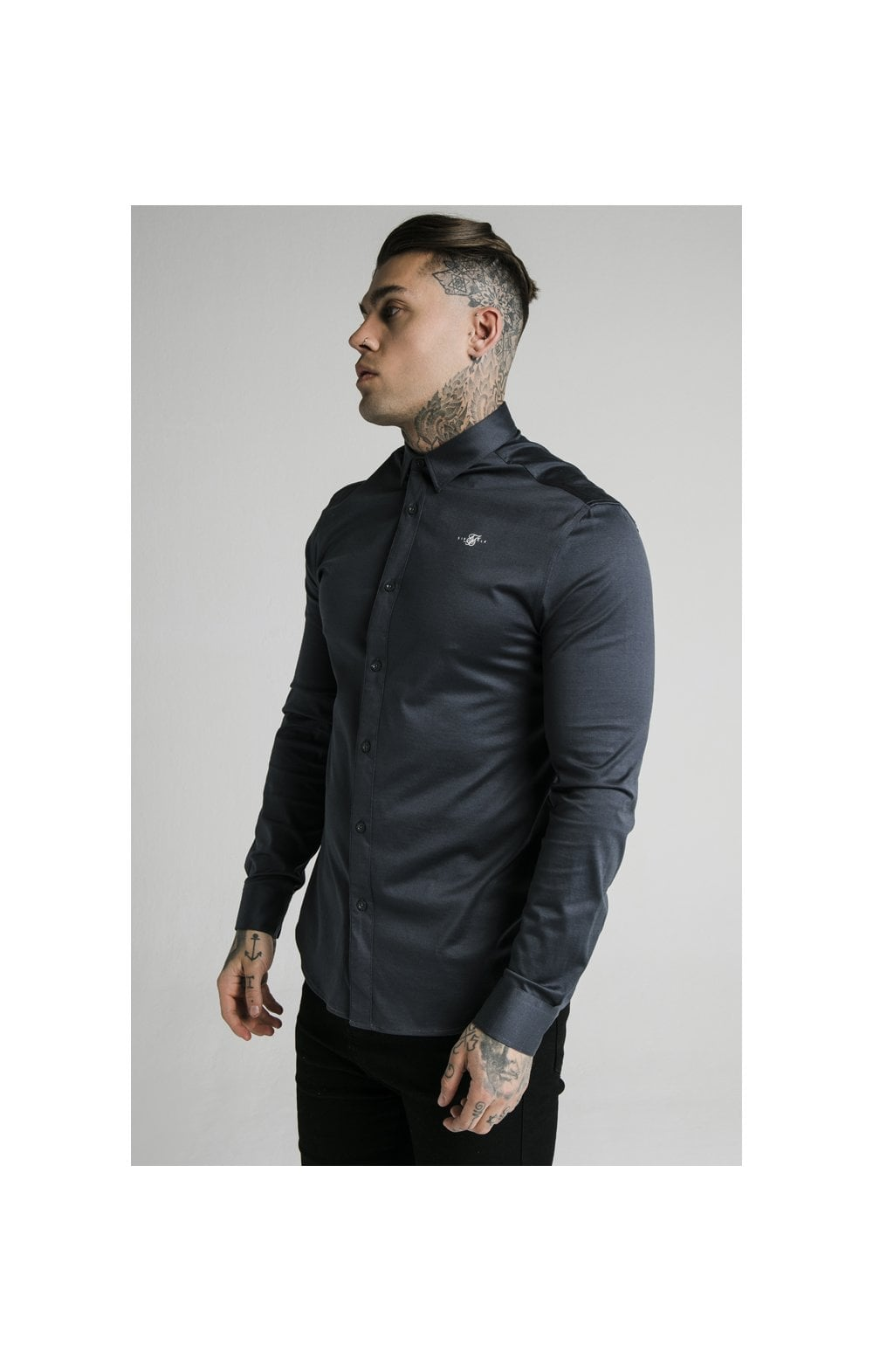 Load image into Gallery viewer, SikSilk L/S Cotton Shirt - Navy