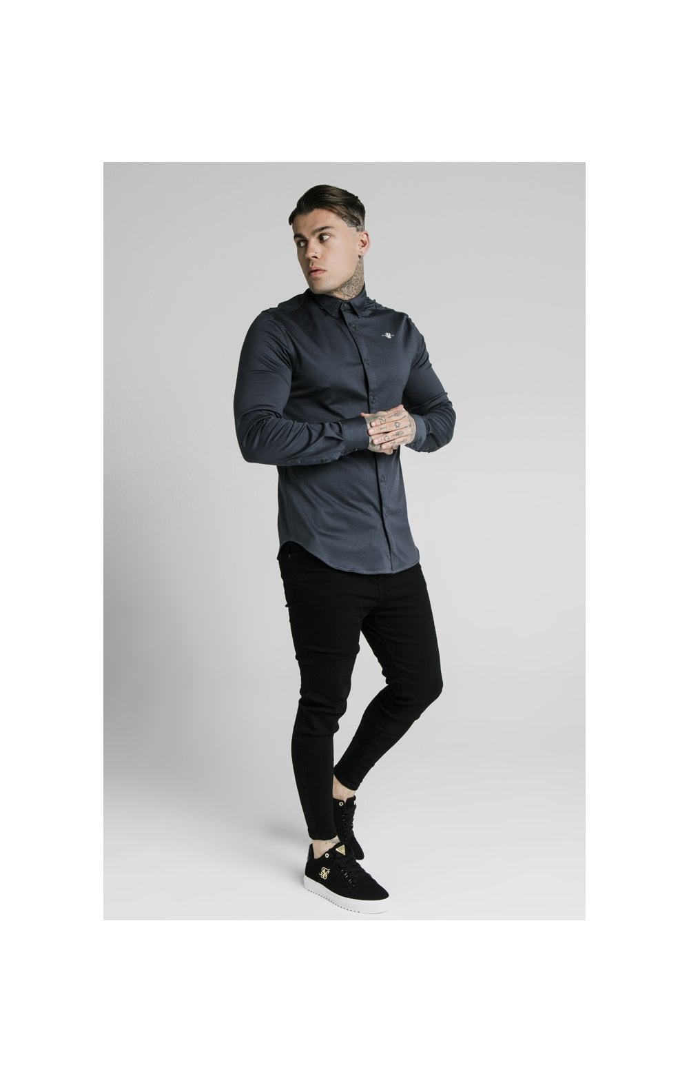 Load image into Gallery viewer, SikSilk L/S Cotton Shirt - Navy (3)