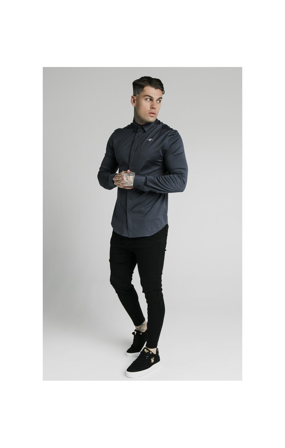 Load image into Gallery viewer, SikSilk L/S Cotton Shirt - Navy (4)