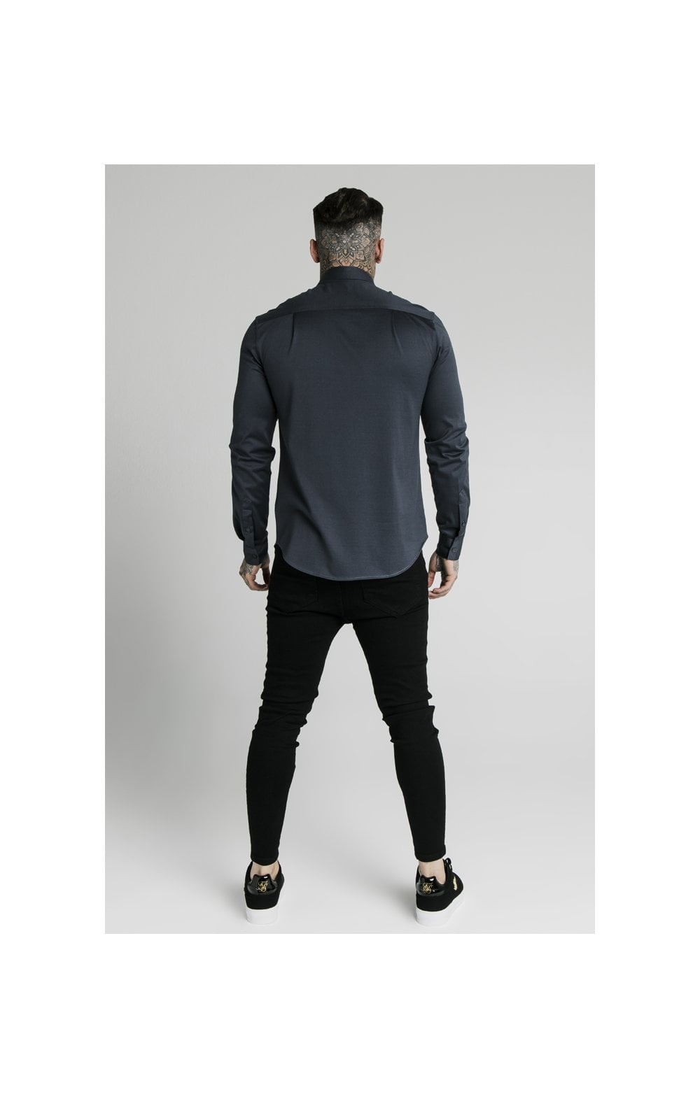 Load image into Gallery viewer, SikSilk L/S Cotton Shirt - Navy (5)