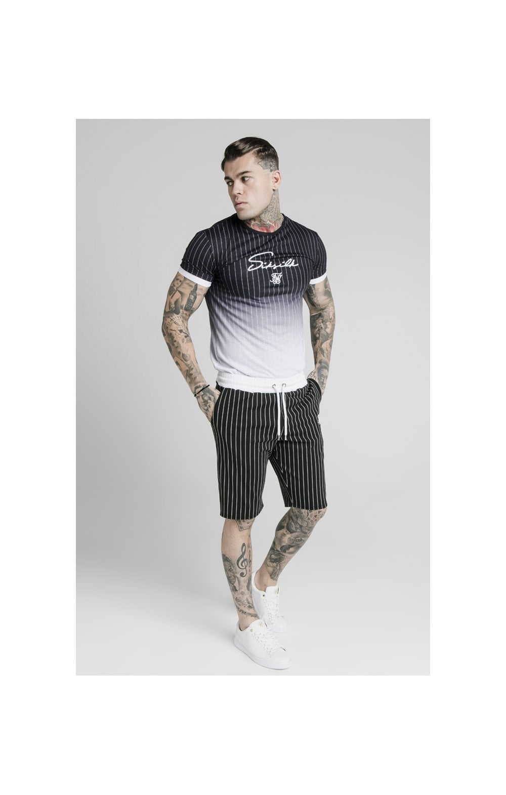 Load image into Gallery viewer, SikSilk Signature Gym Tee - Black & White (2)