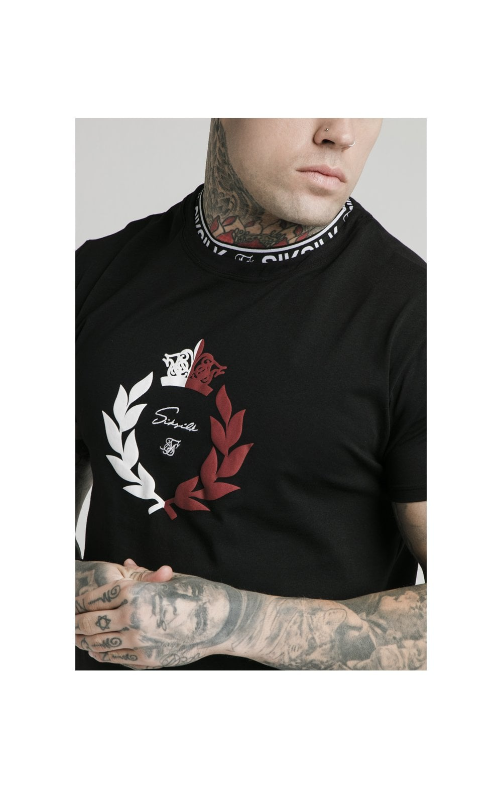 SikSilk S/S Tape Collar Prestige Tee - Black (2)