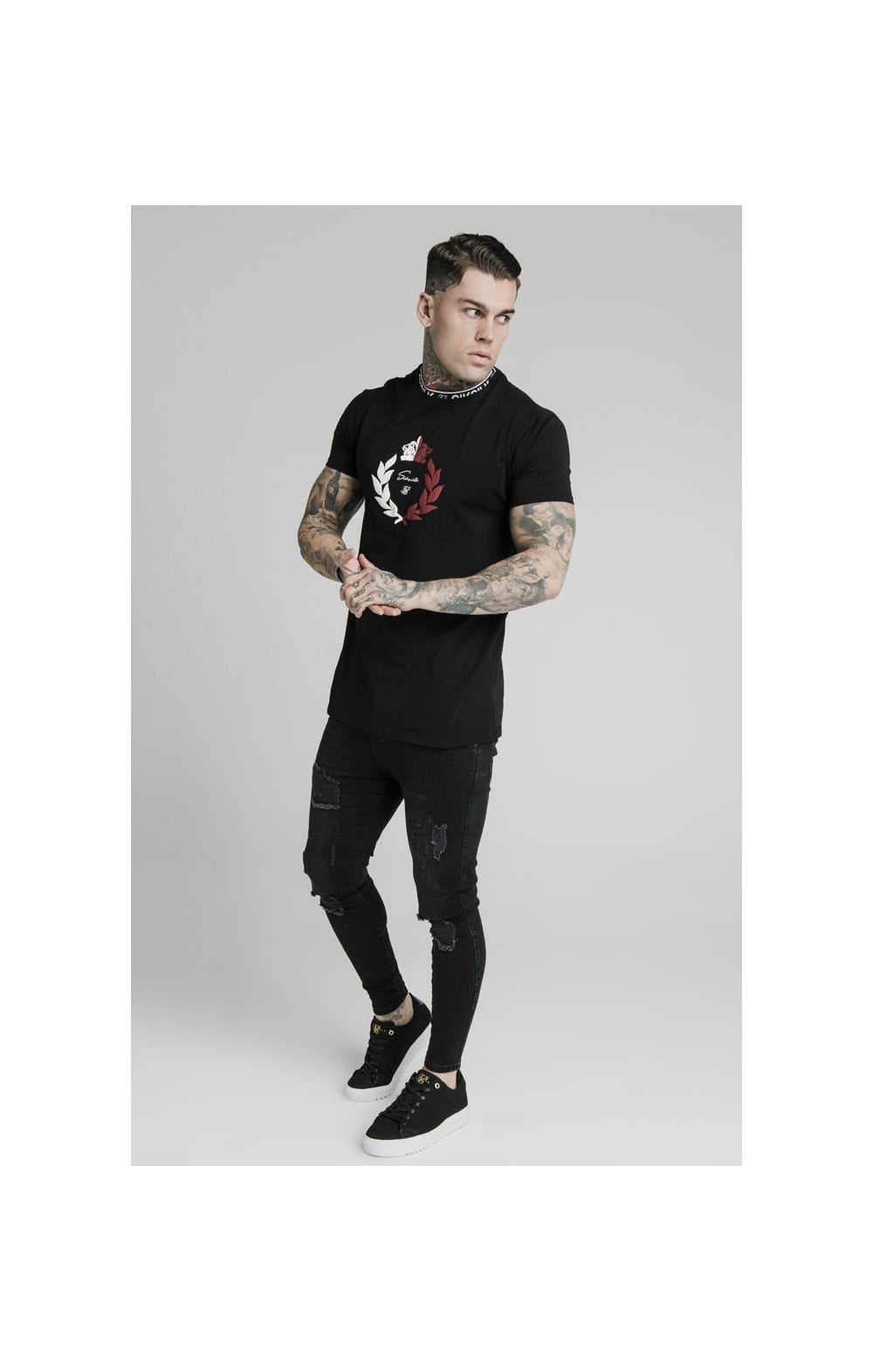 SikSilk S/S Tape Collar Prestige Tee - Black (4)