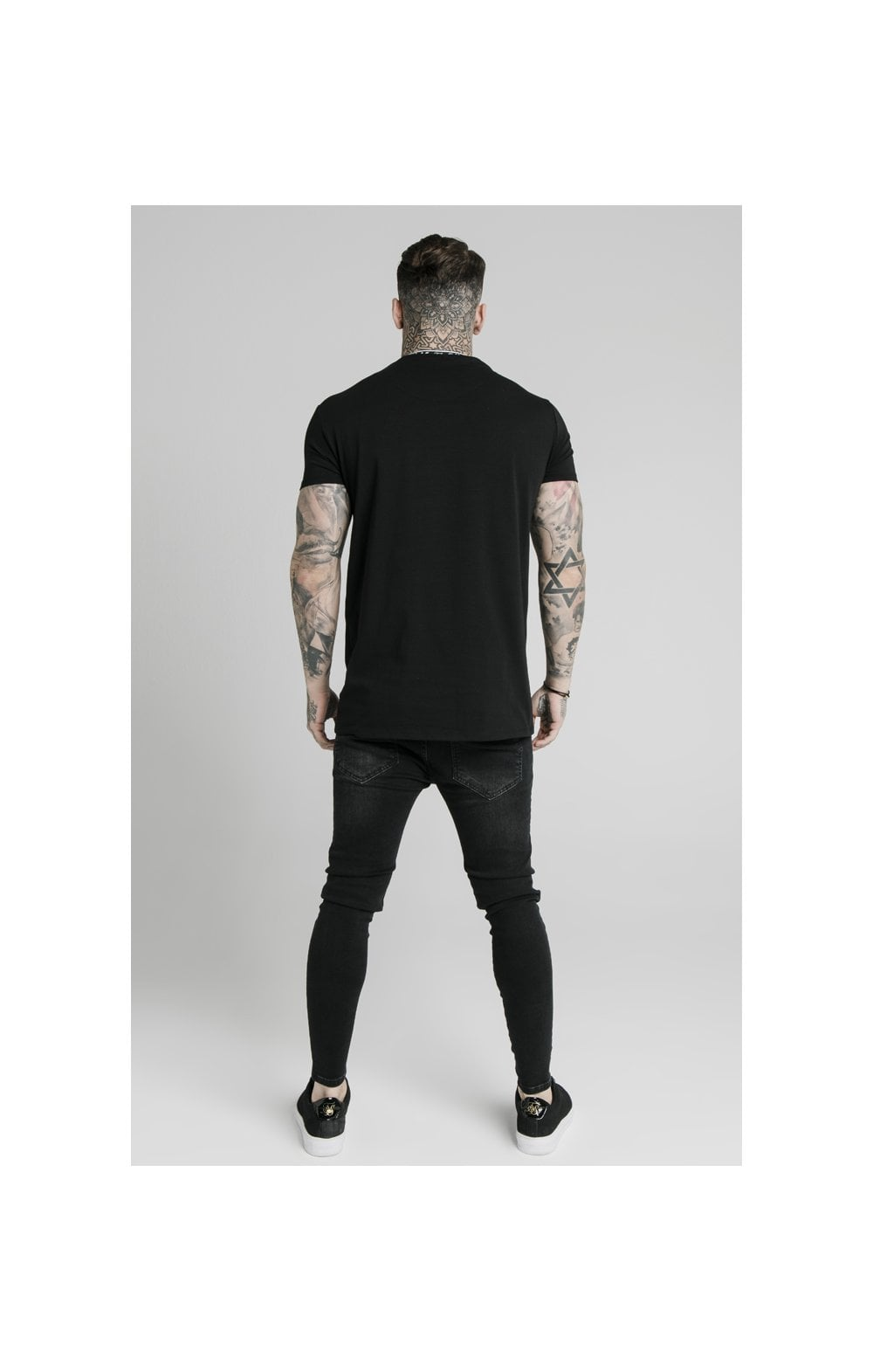 SikSilk S/S Tape Collar Prestige Tee - Black (5)