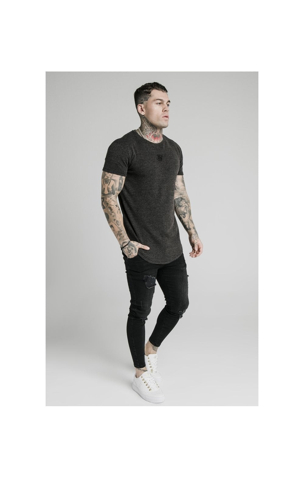Load image into Gallery viewer, SikSilk Rib Knit Gym Tee - Black (2)