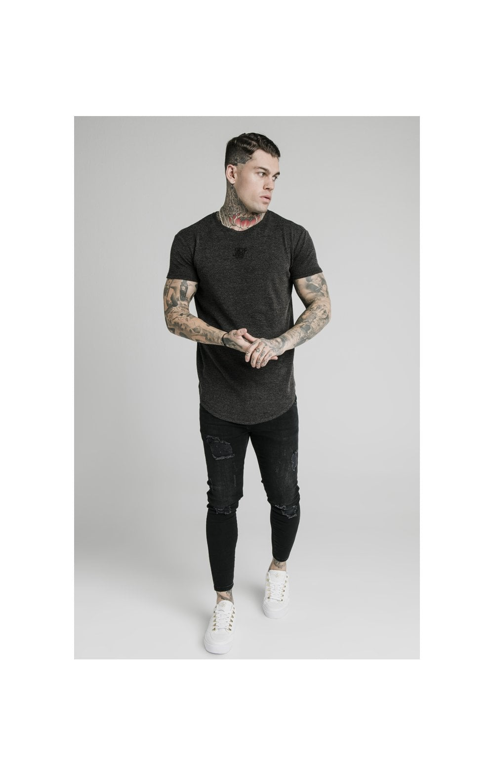 Load image into Gallery viewer, SikSilk Rib Knit Gym Tee - Black (4)
