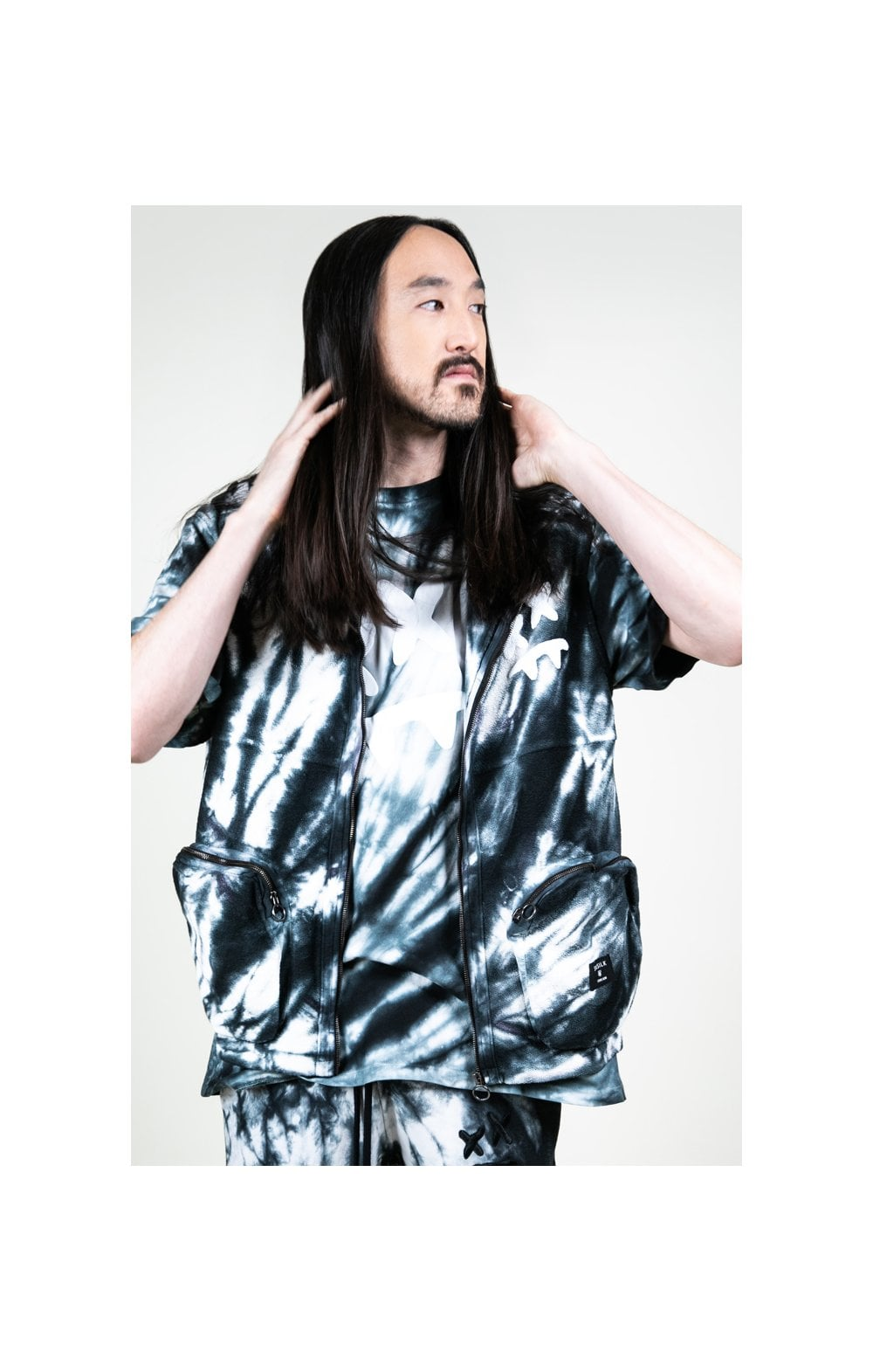 Load image into Gallery viewer, SikSilk X Steve Aoki Utility Vest - Black & White Ink Tie Dye (4)