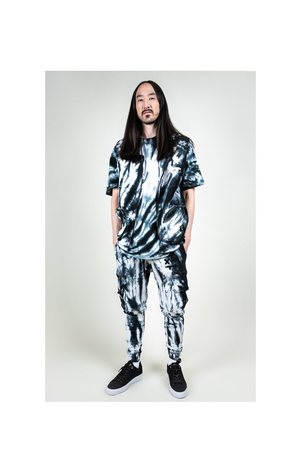 Load image into Gallery viewer, SikSilk X Steve Aoki Utility Vest - Black & White Ink Tie Dye (5)