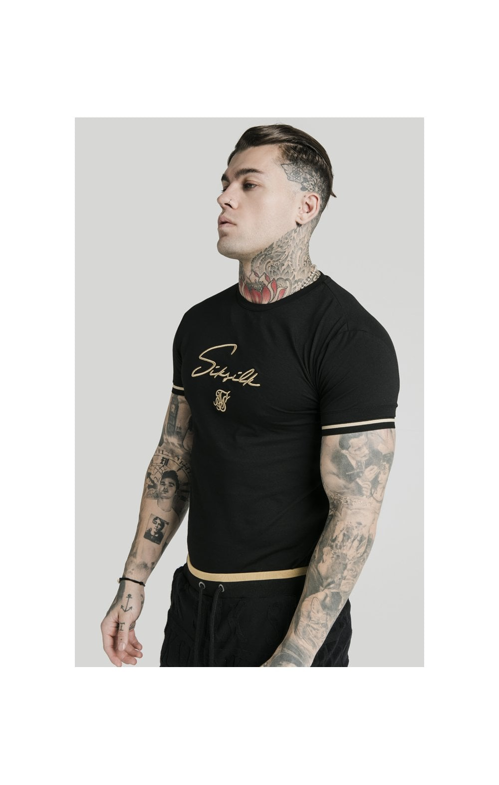 SikSilk Signature Tee - Black & Gold