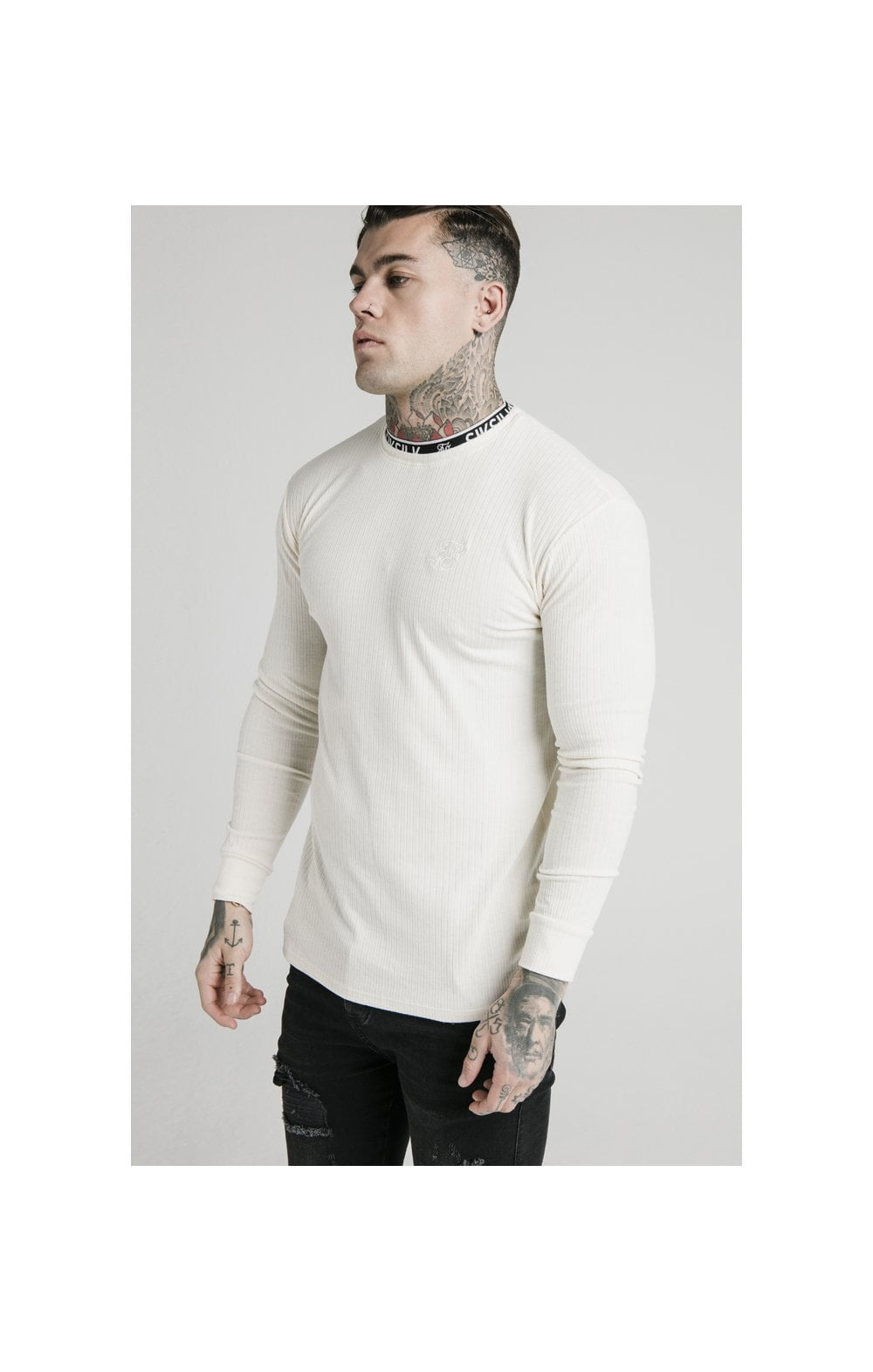 SikSilk L/S Rib Knit Tee - Off White