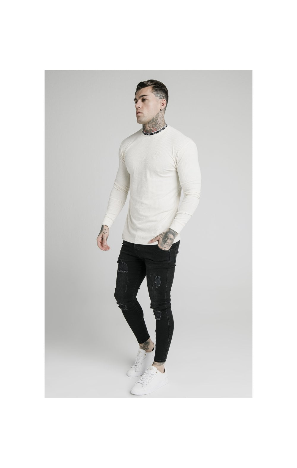 SikSilk L/S Rib Knit Tee - Off White (2)