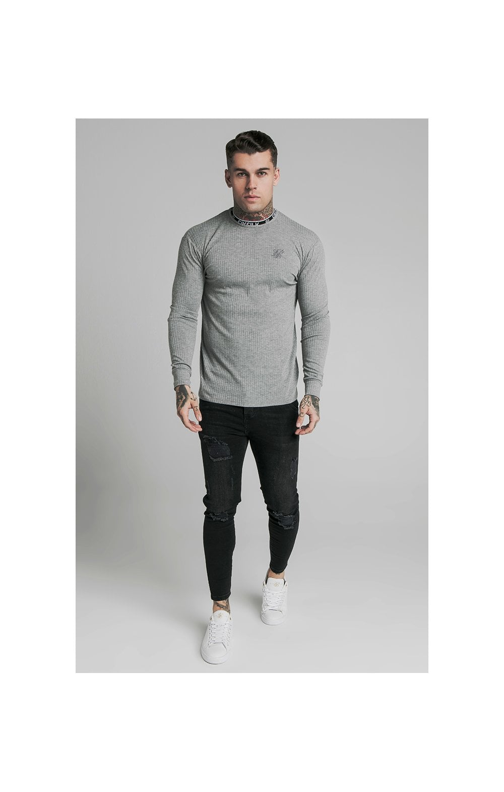 Load image into Gallery viewer, SikSilk L/S Rib Knit Tee - Grey (1)