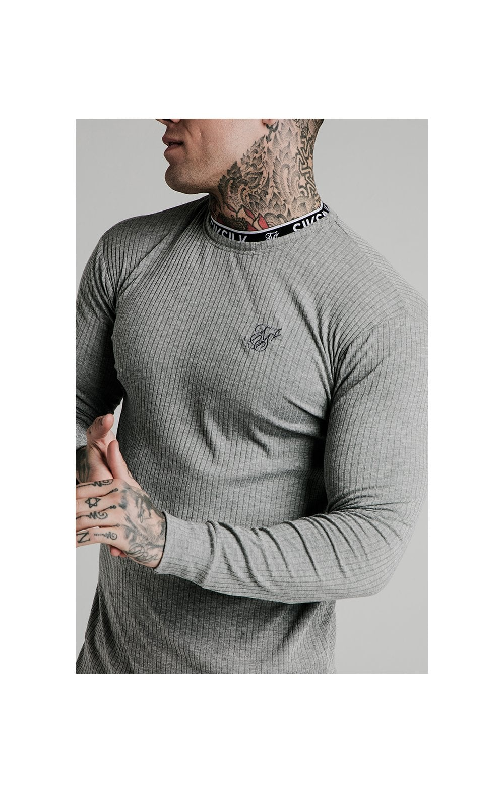 Load image into Gallery viewer, SikSilk L/S Rib Knit Tee - Grey (2)